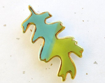 Oak Leaf Brooch. Green. Turquoise. Blue. 22K Gold Edge. Clay. Ceramic. Aqua. Blue-Green. Yellow-Green. Olive. Spring Jewelry. Woodland