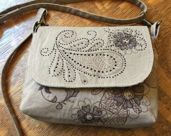 Paisley Shoulder Purse With Bling