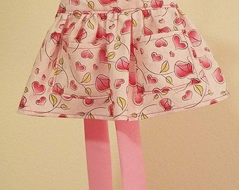 Doll Apron - pink hearts and roses