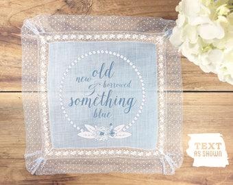 Something blue vintage handkerchief wedding gift, something blue vintage hankie, blue wedding hankie, something blue heirloom, text as shown