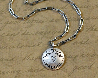 Custom, personalized, sterling silver charm, name, verse, pendant, whimsical scroll, long box cable chain, gift, handstamped, personalized