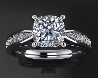 violet ring – 1 carat cushion cut NEO moissanite and diamond engagement ring