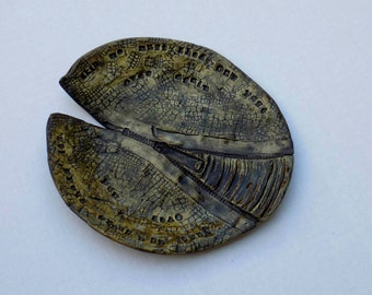 Stoneware Lily Pad Serving Plate OOAK