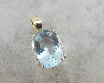Simply Pretty Something Blue, Aquamarine And Gold Pendant 65E1NJ-R