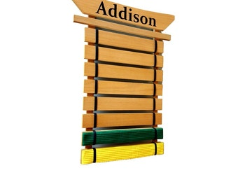 Wall Mount Martial Arts Belt Holder - Holds up to 8 Karate Belts - Optional FREE personalization