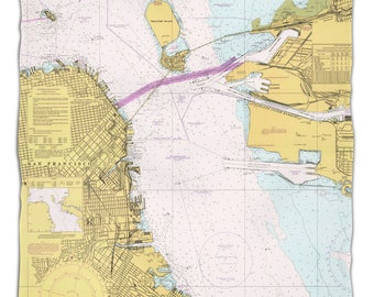 CA: San Francisco, CA Nautical Chart Fleece Throw Blanket, Map Blanket