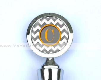 Personalized Wine Stopper, Wine Bottle Stopper  - Chevron Pattern in Gray and Orange, or Custom Color of your choice