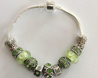 August Peridot Birthstone Charm Bracelet