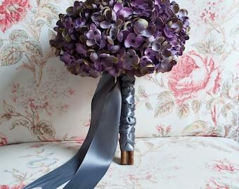Lavender and Gray Hydrangea Wedding Bouquet