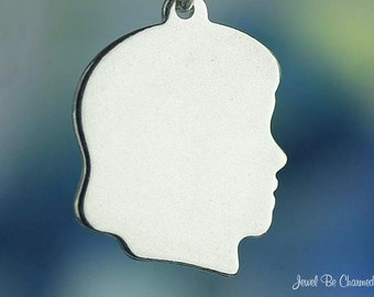 Sterling Silver Child Head Girl Silhouette Charm Blank Solid .925
