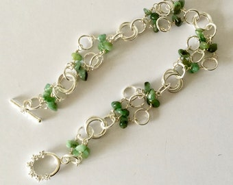 Emerald and Silver Chainmaille bracelet