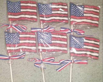 4 Chocolate American Flags Chocolate Pops
