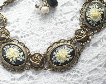 Floral Cameo Bracelet- Victorian Style Antiqued Brass Bracelet- Morning Glory Designs