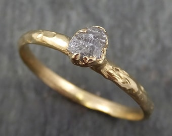 Raw Diamond Engagement Ring Rough Uncut Diamond Solitaire Recycled 14k gold Conflict Free Diamond Wedding Promise byAngeline 0366