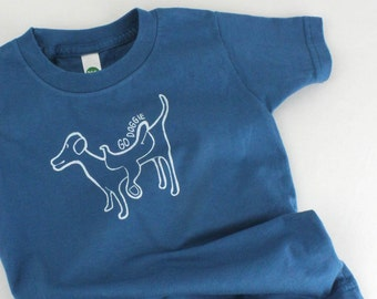 Organic toddler t-shirt dog print go doggie cotton short sleeve top