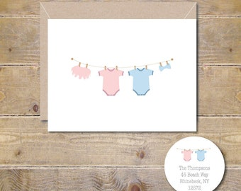 Baby Thank You Cards, Twins, Baby Shower Thank You Cards, Clothesline, Baby Shower, Baby Girl, Baby Boy, Gender Neutral -Set of 100