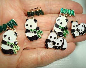 Five Vintage Chinese Little Panda Bear Pins.