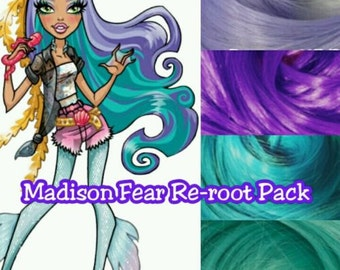 Monster High Madison Fear Singer Custom Doll Nylon Hair Color Blend Kit Create Reroot your Own OOAK Monster High Doll