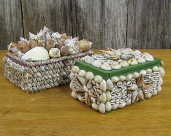 Pair of seashell covered boxes