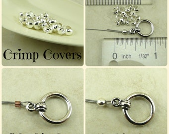 20 TierraCast Sterling Silver Crimp Cover Beads > Small Tiny Little Round 3mm - I ship Internationally 0032