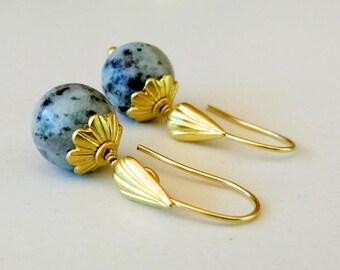 Raw Brass and Mint and Grey Sesame Jasper Dangle Teardrop Fish Hook Earring