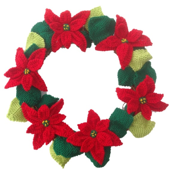Knitted Poinsettia Christmas Wreath Knitting Pattern For