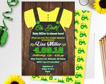 Tractor Baby Shower Invitaiton   Onesie Baby Shower Invitation   Oh Deer Baby Shower Invitation   Barnyard Baby Shower   Green Yellow   Farm