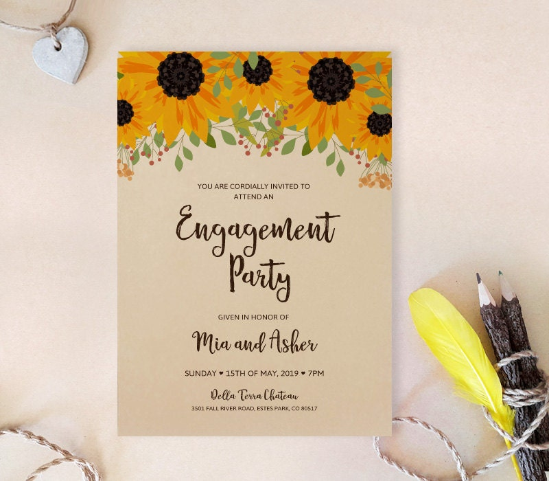 Sunflower engagement party invitations printed on kraft paper