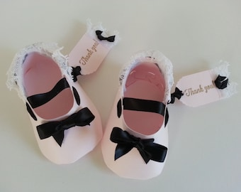 Set Of Ten Pink And Black Shoe Favors With Thank You Tags / Baby Shower Favors / Shower For Baby Girl