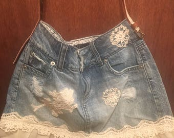 Jean skirt and Lace Purse