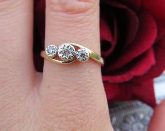 Vintage 9ct Yellow Gold Trilogy Diamond Ring, Size N, Engagement Ring, Illusion Set, Vintage, Antique, Diamond, Jewellery, Jewel