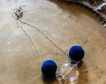 Glass necklace, velvet and metal