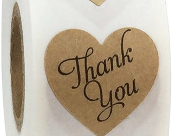 1 Inch |  Natural Brown Kraft Thank You Heart Stickers | 500 Stickers