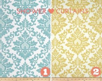 Stoff Duschvorhang - Bad Dekor Cecilia blau oder gelb Safron Premier Drucke Stoff 72 x 72 Durchschnittsgröße oder benutzerdefinierte Größe zu wählen