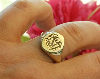 14k Solid Gold Signet Ring-Gold  Ring-Personalized Engraved Ring-Gift For Her-Monogram Rings-Bridesmaid Gift-Personalized Monogram-Rings