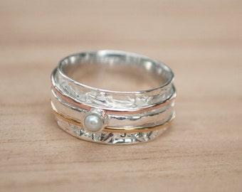 Spinner Ring Pearl* Meditation Ring Pearl Turquoise* Spinning Ring* Statement Ring* Spin Ring*Worry Ring*Mix Metals Ring* Silver Ring*BJS033