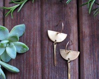 Orbit Drop Earrings - Brass Half Circle Earrings - Lightweight Earrings - Artisan Tangleweeds Jewelry