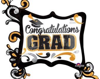 "Ready to Ship Graduation Balloons - 34"" Graduation Balloon - Congratulations Balloon Graduation Party Decor Foil Giant Mylar Reuseable"