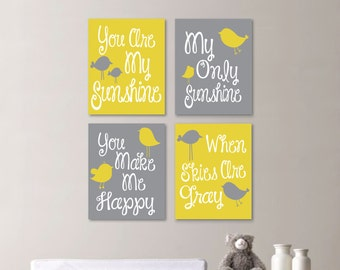 Baby Girl Nursery Art Print - You Are My Sunshine Nursery - You Are My Sunshine Wall Art - Girl Bedroom - Flower Art - Yellow Gray -NS-656