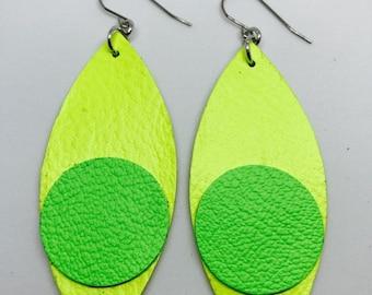 Leather earrings, Leather, Earrings, Leaf shaped earrings, Bright yellow earrings, Drop earrings, Statement earrings, Bold earrings,