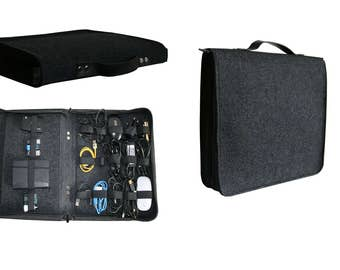 Organizer for wires, bag, felt bag, organisation, cable and charger, cord organizer, storage