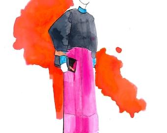 Delpozo PreFall 2017 01 Art Print Fashion Illustration, Fashion Sketch, Fashion Art, Watercolour Illustration
