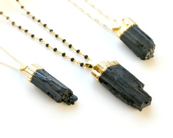 Gold Black Tourmaline Necklace,  Raw Tourmaline Pendant, Gold Dipped Long Necklace, Beaded Gemstone Necklace, Boho Long Layering Necklace