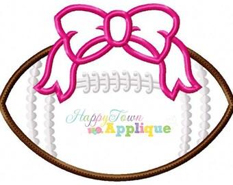 Football with Bow Machine Applique Design