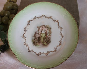 "Antique Z,S & C Bavaria 7.5"" Cabinet Scenery Plate - Lady in Garden with Cherub Angel, Germany"