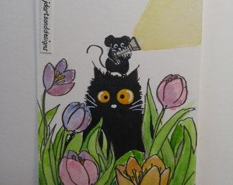 ORIGINAL #185 art painting black cat flashlight tulips night miniature funny whimsical ACEO pet animals