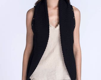Black cardigan, Sleeveless cardigan, Light cardigan,  Cardrigan vest, Boho cardigan, Knit cardigan, womens Knit cardigan, Knitted cardigan,