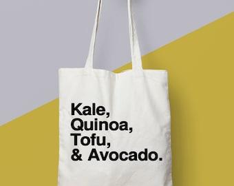 """Vegan Gift. Vegan Bag. """"Kale, Quinoa, Tofu & Avocado"""" Eco Tote Bag."""