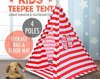 NEW Premium 4 Pole Red & White Stripe Pattern Square Teepee Tent With Storage Bag