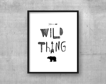 Printable wall art - Wild Thing - Grizzly bear - Arrow - Adventure theme - Instant digital download wall art poster print - Black and White